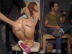 Tall redhead Spanish slut disgraced